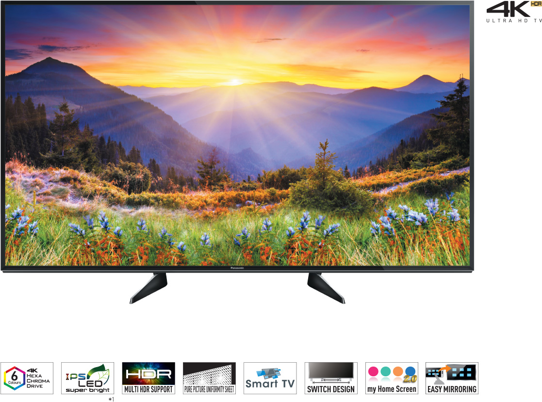 "EX600 - 65"", 55"", 49"", 43"", 4K Pro HDR Ultra HD TV, 6 Colours 4K Hexa Chroma Drive, IPS LED super bright, HDR Multi HDR Support, adaptive backlight dimming, 1500 HZ BMR Backlight motion rate,, Multi-noise reduction, VR Audio True Surround, My home screen"